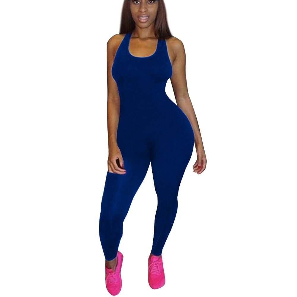 Sunyastor Women Bodysuit Romper Jumpsuits One Piece Body Full Strap Tank with Long Pants Leggings Bodycon Sexy Tight Playsuit Blue