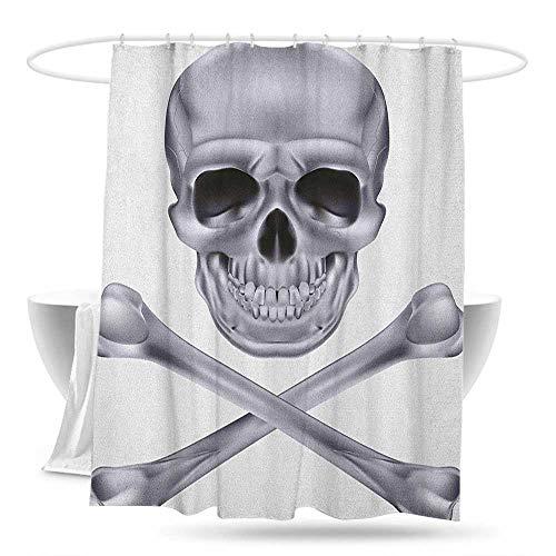 Home Decor Shower Curtain Grey Vivid Skull and