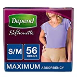 Depend Silhouette Incontinence Underwear for Women, Maximum Absorbency, S/M, Beige, 56 Count (2-Pack(S/M, Beige, 56 Count))