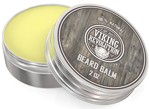 Beard Balm with Argan Oil & Mango Butter - Styles, Strengthens & Softens Beards & Mustaches - Citrus Scent Leave in Conditioner Wax for Men by Viking Revolution