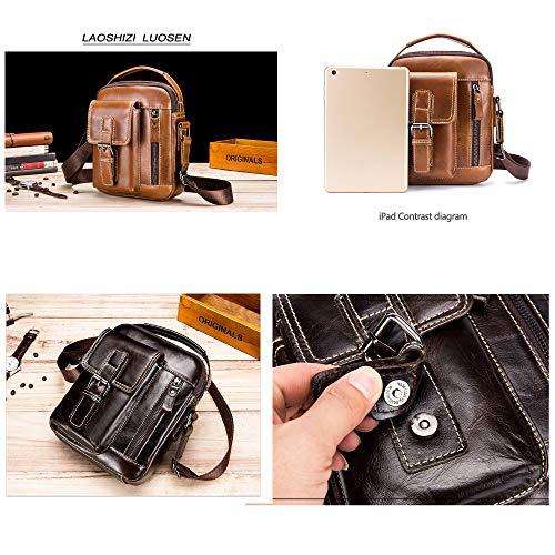 8a223411aa71 CAJOLG Lychee Grain Genuine Cow Leather Handbag Leather Messenger Bag for  Men,Gym Sling Bag for Men,Shoulder Bag for Mens,Men's Travel Toiletries ...