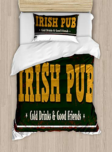 Ambesonne Irish Pub Duvet Cover Set, Vintage Grunge Bar Sign with Cold Drinks and Friends, Decorative 2 Piece Bedding Set with 1 Pillow Sham, Twin Size, Dark Green Dark Yellow
