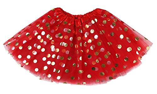 Simplicity Red Tutu Girls 4 Layered Tulle Polka Dot Dress-up Princess Tutu Skirt