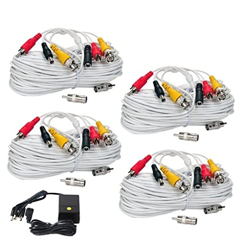 VideoSecu 4 x 100ft Security Camera White Cords BNC RCA Audio Video Power Cables CCTV DVR Wires with 1 of 4 Channel 12V DC 2000mA Power Supply (Videosecu Av Video)