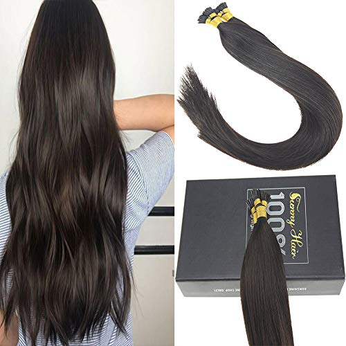 Sunny 18Inch Professional Salon Style I Tip Hair Extensions Remy Straight #2 Darkest Brown Pre Bonded Itip Remy Hair Extensions 50g Per Package (Best Keratin Bond Hair Extensions)