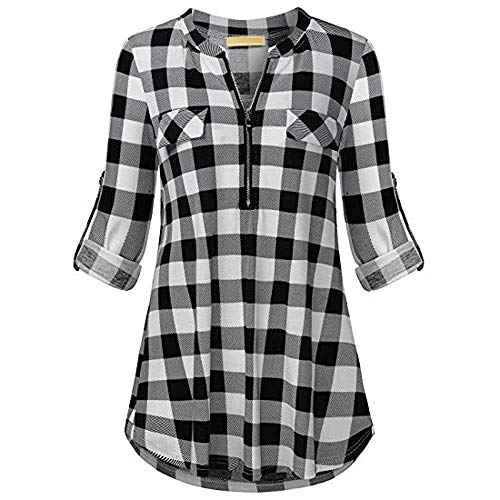 Wintialy Women's Split Zipper V Neck Long Sleve Casual Roll-up Plaid Tunic Blouses Tops