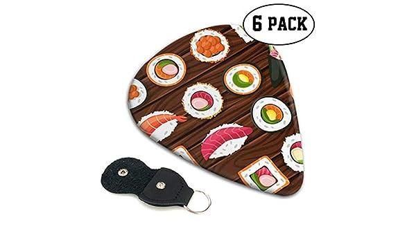 Sushi Comida Japonesa En Madera Púas De Guitarra Eléctrica Paquete De Variedad De Guitarra Paquete De 6 Guitarras Acústicas Pesadas Y Eléctricas: Amazon.es: Instrumentos musicales