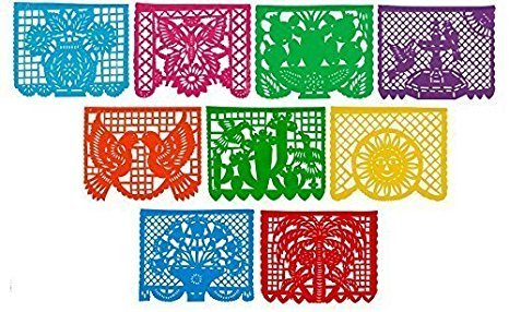 Lowest Price! Festive Large Plastic Mexican Papel Picado Banner (15 Feet Long) Designs as Pictured b...