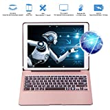 Keyboard Case for iPad Pro 12.9 inch(Not fit 2018), VANKY Wireless Slim Aluminium iPad Protective Case iPad Keyboard with 7 Colors LED Backlit & Auto Wake/Sleep Fit iPad Pro 12.9 (Rose Gold)