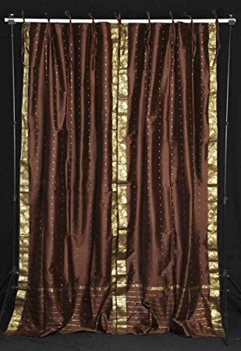 Indian Selections Lined-Brown Tie Top Sheer Sari Curtain/Drape/Panel