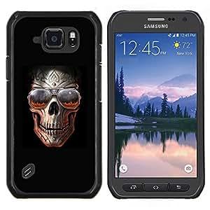 TECHCASE---Cubierta de la caja de protección para la piel dura ** Samsung Galaxy S6 Active G890A ** --Roca Cráneo Negro Sombras frío metal Infierno