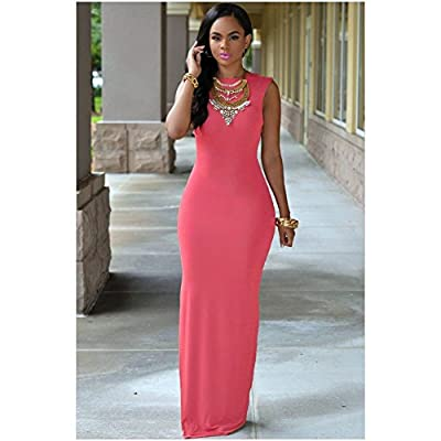 YeeATZ Maxi Sexy Halter Slim Round Neck Sleeveless Long Dress