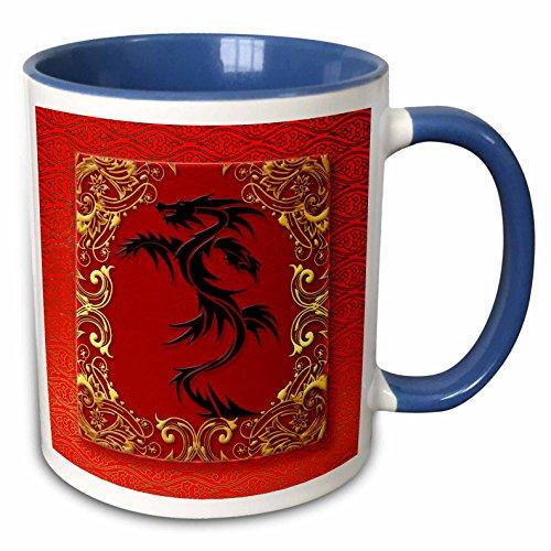 3dRose 101857_6 Zodiac Dragon Chinese New Year Red, Gold and Black Two Tone Blue Mug, 11 oz, White