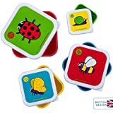TUM TUM Nesting Children's Snack Boxes, Lunch Boxes For Kids, BPA Free (Bugs)