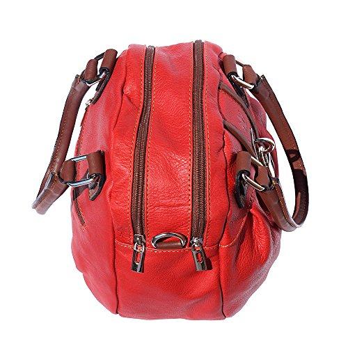 Leather A 8621 Borsa Florence marrone Rosso Market Mano 4FnqTttdpw