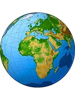 Designer stencils world map cake stencil c977 amazon novelty globe 75 edible icing cake topper birthday sciox Images