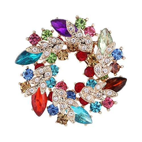 Daisy Jewelry Womens Vintage Rhinestone Bridal Wedding Bouquet Flower Wreath Brooch Pins for Women ()
