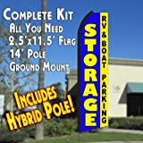 Cheap STORAGE RV & Boat Parking (Blue/Yellow) Flutter Feather Banner Flag Kit (Flag, Pole, & Ground Mt)