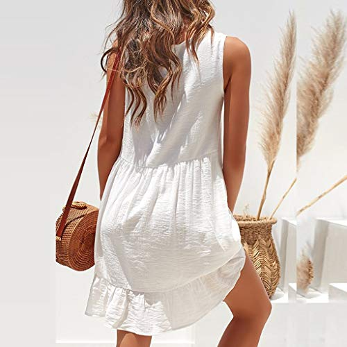 Summer Dresses for Women Casual O-Neck Ladies Solid Color Buttons Casual Mini Dress(White,M) by yijiamaoyiyouxia Dress (Image #3)