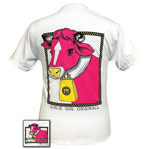 Glam Girl T-shirts - Girlie Girls Glam Cow Preppy Short Sleeve T-Shirt - YOUTH (Large 14-16)