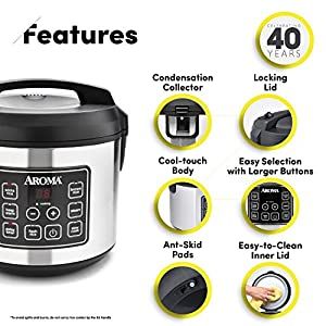 Aroma Housewares 20 Cup Cooked (10 cup uncooked) Digital Rice Cooker, Slow Cooker, Food Steamer, SS Exterior (ARC-150SB…