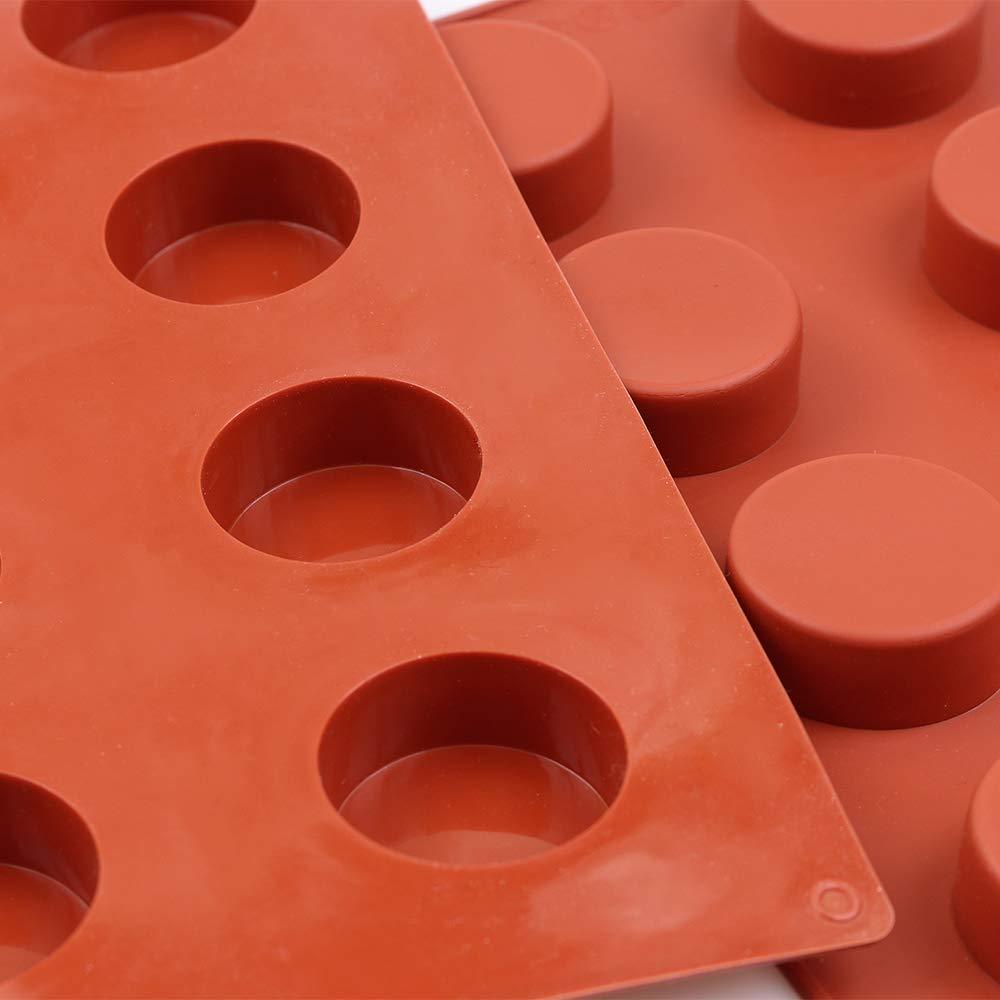 homEdge 6-Cavity Disc Shape Silicone Mold Resin Coaster Handmade Soap Molds-Brown Tart Gustard 3 Packs Disc Cake