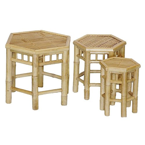 Natural Bamboo 3 Piece Nesting Tables or Stools Set by Unknown