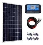 100 Watts Solar Panel + 20A LCD Display PWM Charge Controller + 50 Feet Solar Cable Adaptor + Z Mounting Brackets for Off-Grid RV Boat Kit ECO-WORTHY Solar Power And Accessories