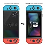 PLESON Tempered Glass Screen Protector for Nintendo Switch 2017 (2-Pack), Switch Screen Protector Glass [Works While Docking] 2.5D/0.26mm/9H Hardness/Bubble Free