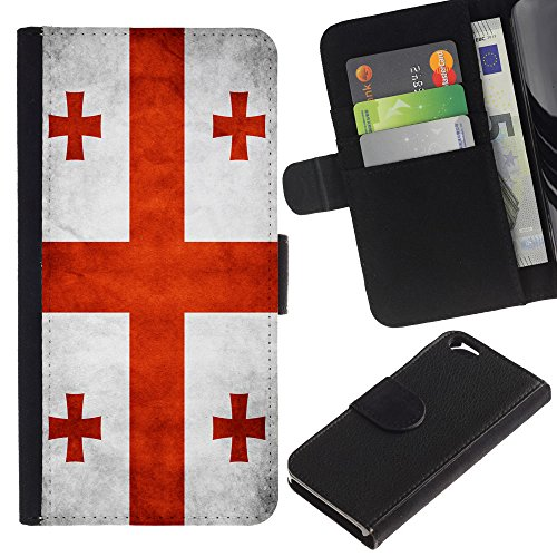 EuroCase - Apple Iphone 6 4.7 - Georgia Grunge Flag - Cuir PU Coverture Shell Armure Coque Coq Cas Etui Housse Case Cover