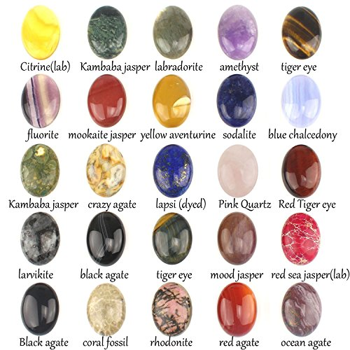 Wholesale Gemstone Mix Kinds of Jasper Agate Oval Shape Cabochon CAB Flatback Ring Face, DIY Jewelry Accressory (30x22mm 15pcs) Cabochons Gemstones Jewelry
