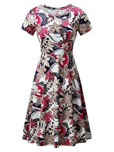 (HUHOT Women's Short Sleeves Ladies T-Shirt Swing Dresses A-line Sun Dresses Flower 26 Large)