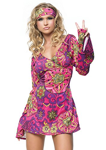 Leg Avenue Women#039s 2 Piece Hippie Girl Costume Retro Print Bell Sleeves Go Go Dress With Head Band