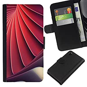 KLONGSHOP // Tirón de la caja Cartera de cuero con ranuras para tarjetas - Espiral Ingeniería Shell Red - Sony Xperia Z3 D6603 //
