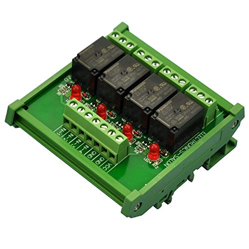 Electronics-Salon DIN Rail Mount 4 SPDT 10Amp Power Relay Interface Module, DC 24V Version.
