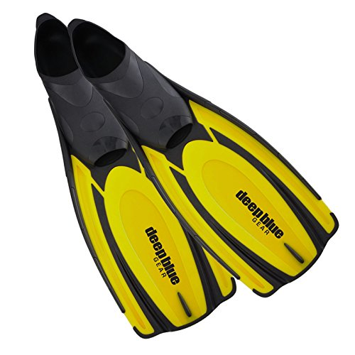 - Deep Blue Gear - Latitude II Yellow Size 7-8 (Fits Men's 8-9½ and Women's 9-10½) Adult Diving Snorkeling Swim Fins