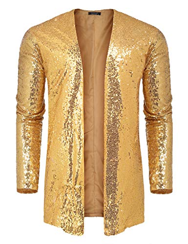 COOFANDY Men's Sequin Cardigan Party Nightclub Hip Hop Stylish Open Front Cape Cloak Gold