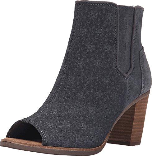 Toms Majorca Peep Toe Booties Dark Grey Suede Embossed Womens 6.5 ()