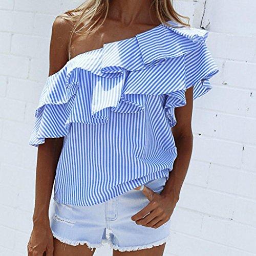 Style Dnudes Femme Court Bleu t Casual Top T Chemises Asymtrique Volants OVERDOSE paules Shirt Manches Sexy Blouse Bardot Chic Courtes wvZp4cq