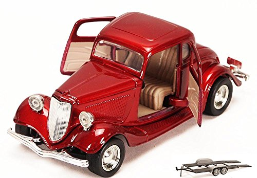 Diecast Car & Trailer Package - 1934 Ford Coupe, Red - Motormax 73217 - 1/24 scale Diecast Model Toy Car w/Trailer -  ModelToyCars, 73217-MMT-RED-76001-BDL