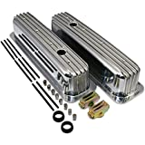Assault Racing Products A6191 Chevy Small Block 350 Vortec TBI Polished Finned Aluminum Tall Style Valve Covers
