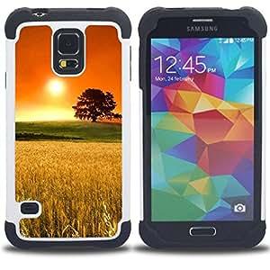 For Samsung Galaxy S5 I9600 G9009 G9008V - rye field oak tree orange gold nature Dual Layer caso de Shell HUELGA Impacto pata de cabra con im??genes gr??ficas Steam - Funny Shop -