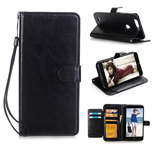 Price comparison product image Fashion Simple Creative For ZTE Sequoia Z982/Blade Z MAX/ Zmax Pro 2,Upara Wallet Flip Case Cover With Card Slots And Stand (Black)