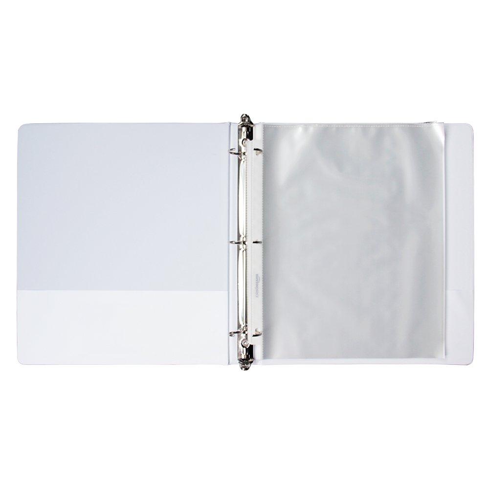 4 COMIX A2130 Basics Durable View Binder 3 Ring Binder 200-Sheet Capacity 4-Pack White