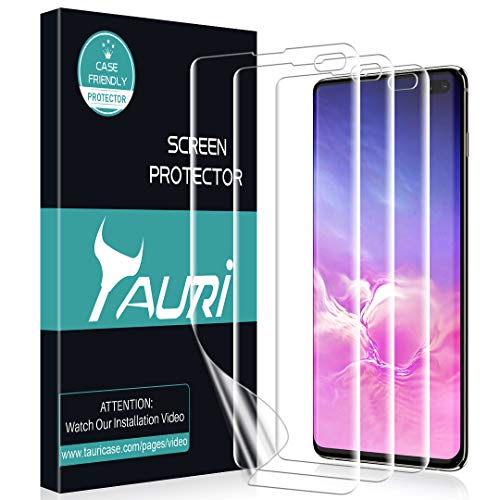 TAURI [3-Pack] Screen Protector for Samsung Galaxy S10 Plus / S10+, Wet Application Case-Friendly Anti-Bubble HD Clear Flexible Film, [Not Tempered Glass] Lifetime Replacement Warranty