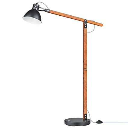 Lepower Wood Floor Lamp Adjustable Metal Lamp Shade Reading Light
