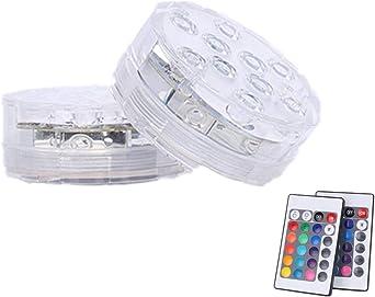 batteriebetrieben aa 2Pack RGB-ferngesteuerte LED-Tauchleuchten mit Farbwechsel