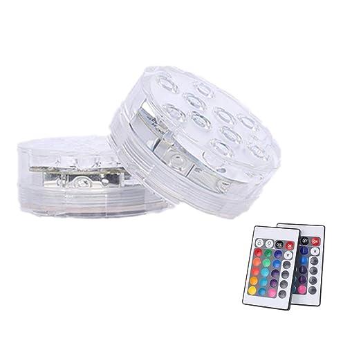 Onerbuy Pack de 2 luces LED sumergibles con pilas Color RGB que cambia la luz de