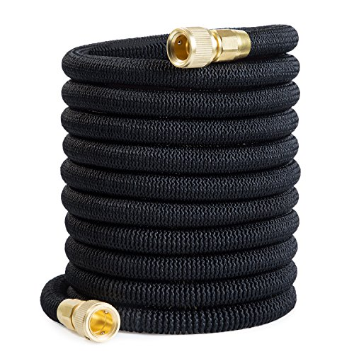 "Garden Hose Expandable Water Hose with Double Latex Core 3/4"" Solid Brass Fittings Extra Strength Fabric Flexible Expanding Hose (100FT)"