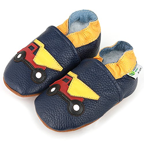 AUGUSTA BABY Baby Boys Girls First Walker Soft Sole Leather Baby Shoes - Genuine Leather Dump truck